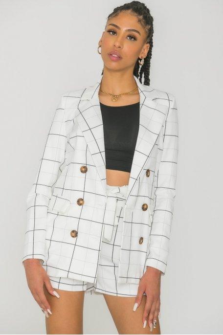 Veste tailleur à carreaux blanc