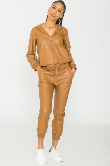 Pantalon jogging similicuir camel