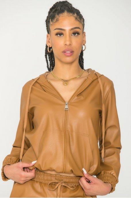 Veste à capuche similicuir camel