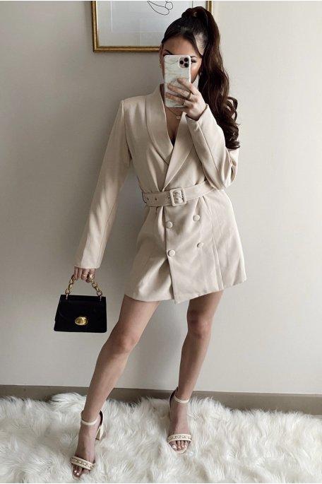 Robe blazer ceinturée beige