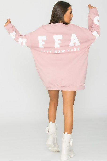 Sweat robe oversize imprimé dos rose