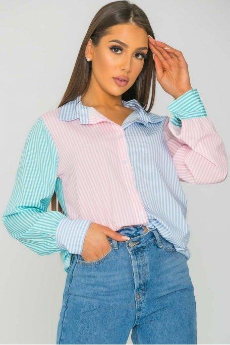 Chemise rayée tricolore