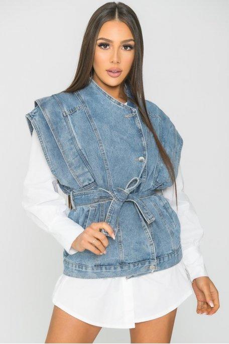 Veste en jean sans manche large bleu