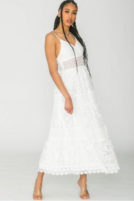 Robe longue en dentelle blanc