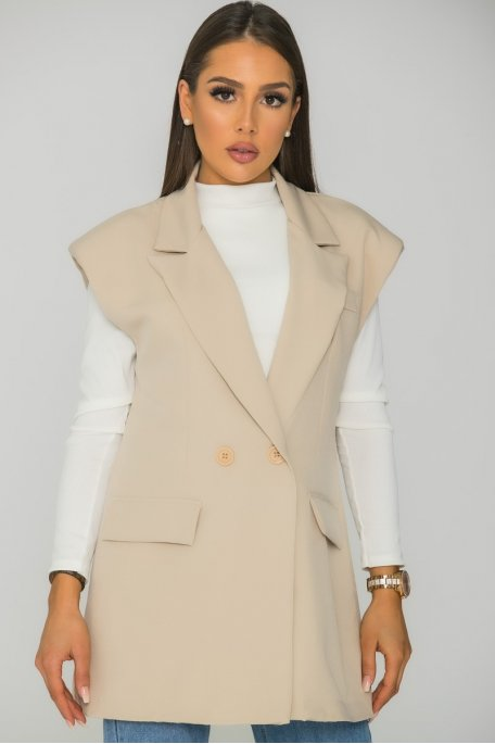 Veste blazer sans manche oversize beige