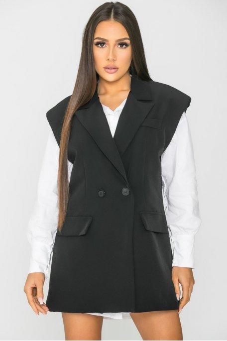 Veste blazer sans manche oversize noir