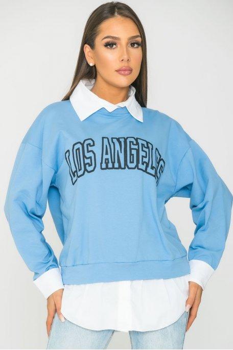 Sweat chemise Los Angeles bleu