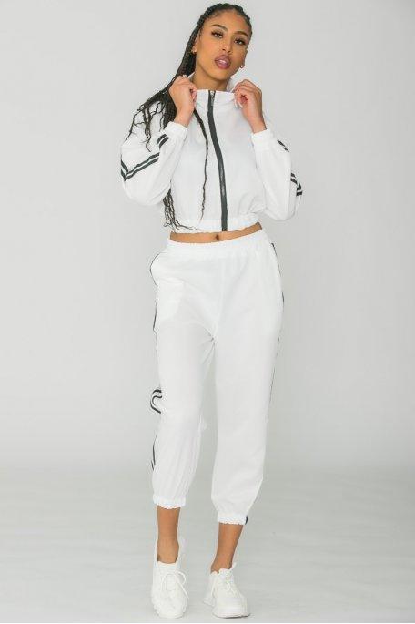 Ensemble jogging zippé à bandes blanc