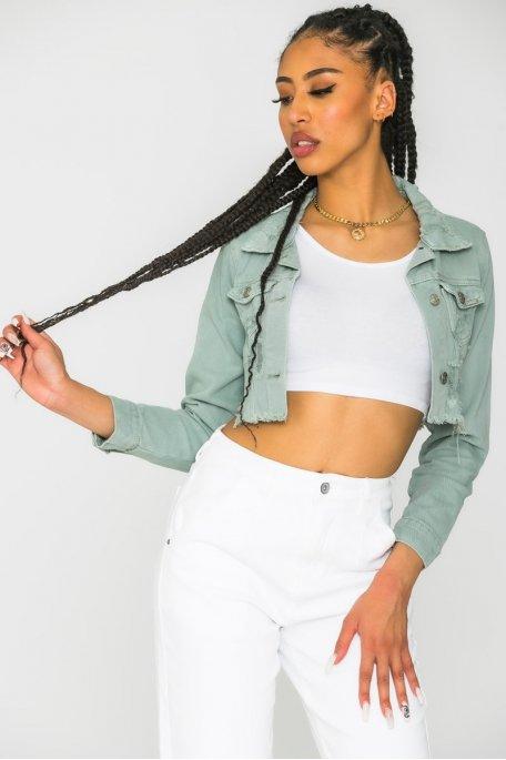 Veste courte en jean effilée vert