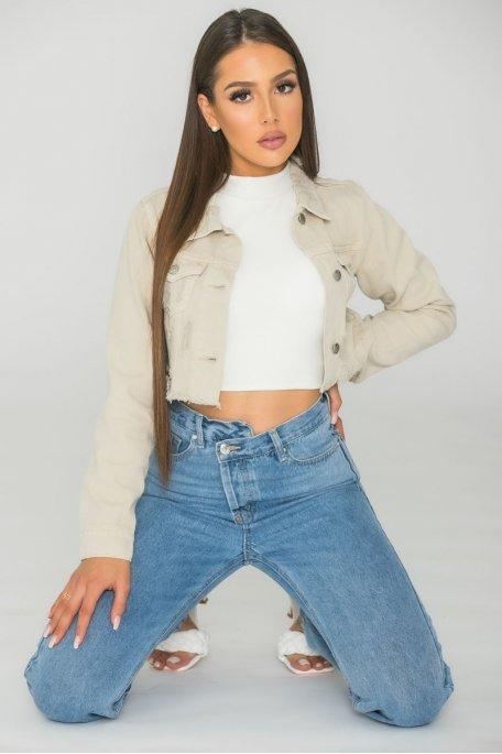 Veste courte en jean effilée beige