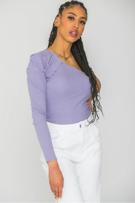 Top one shoulder côtelé violet