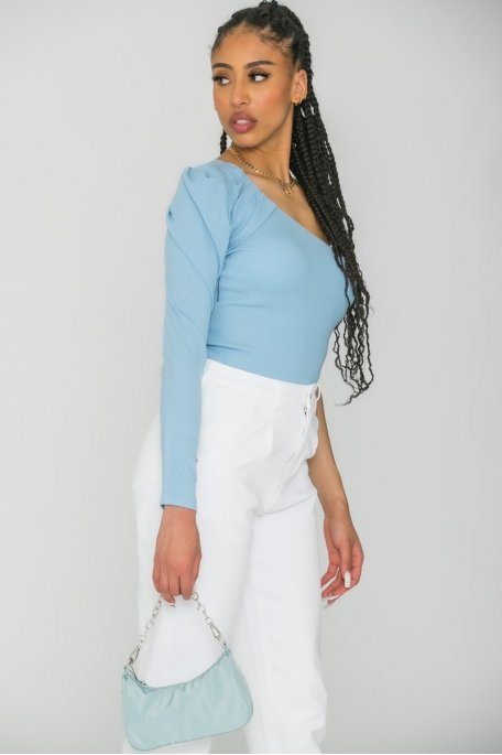 Top one shoulder côtelé bleu