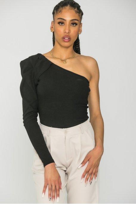 Top one shoulder côtelé noir