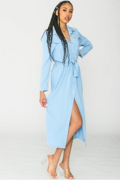 Robe chemise longue ceinturée bleu