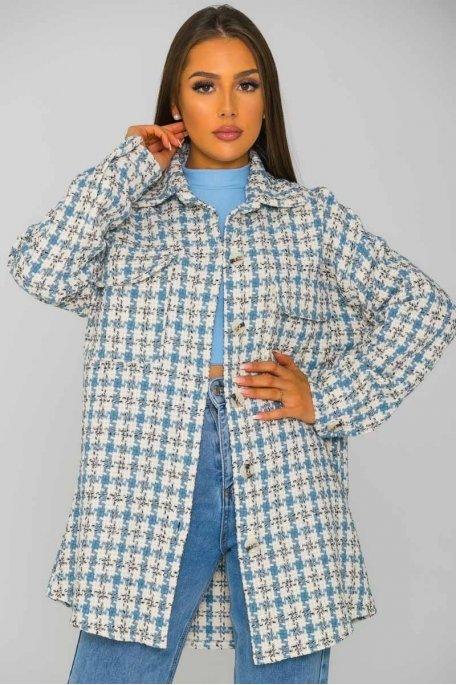 Surchemise large en tweed bleu