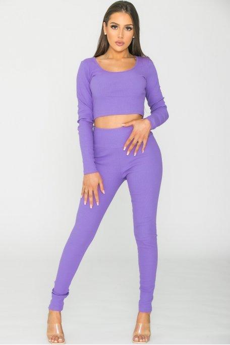 Ensemble crop top legging côtelé violet