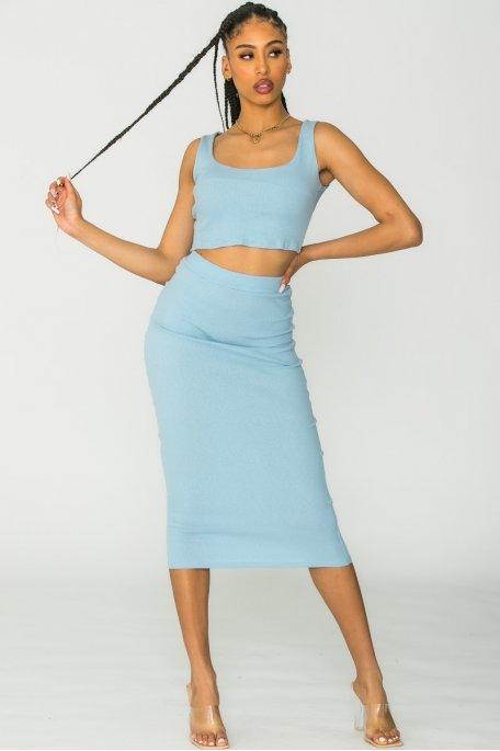 Ensemble crop-top et jupe côtelé bleu