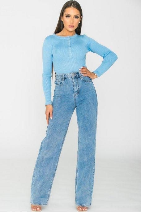 Jean droit large bleu