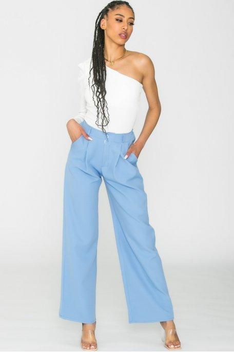 Pantalon tailleur large bleu