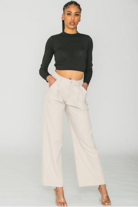 Pantalon tailleur large beige