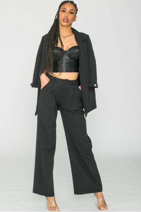 Pantalon tailleur large noir