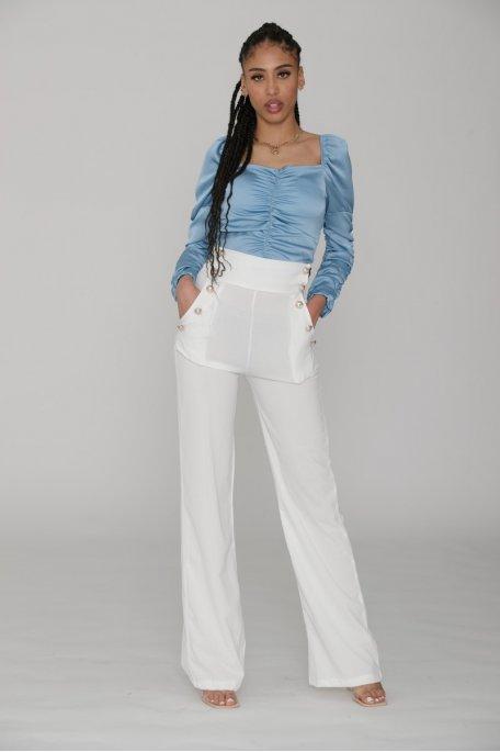 Pantalon à pont large long blanc