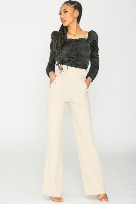Pantalon à pont large long beige