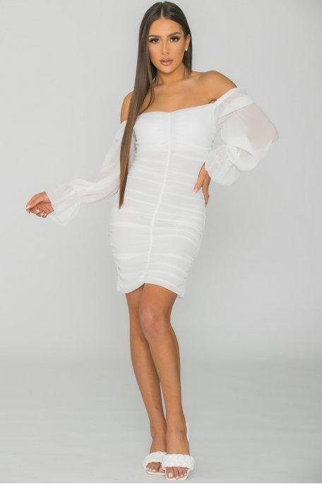 Robe courte froncée blanc