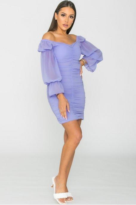 Robe courte froncée violet