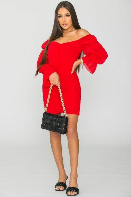 Robe courte froncée rouge