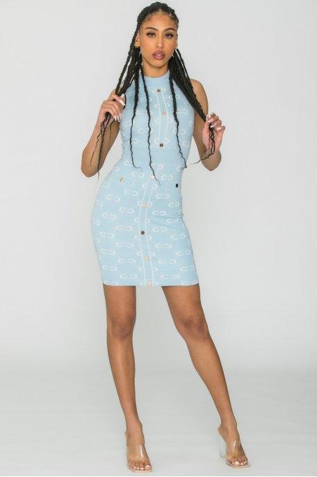 Robe en maille motif  sans manche bleu