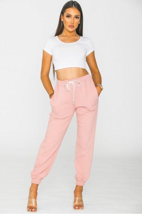Pantalon jogging rose