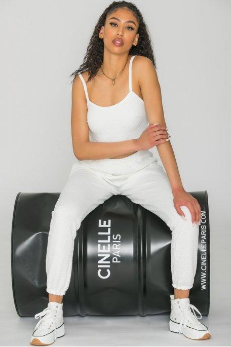 Ensemble jogging crop top texturé blanc