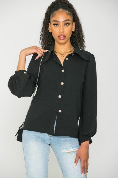 Chemise boutonnée avec mini sac noir