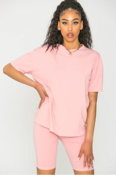 Ensemble tee-shirt cycliste rose