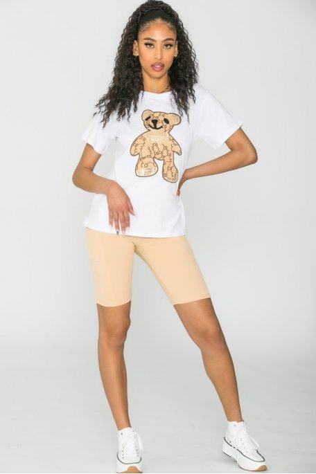 Short stretch avec poches beige
