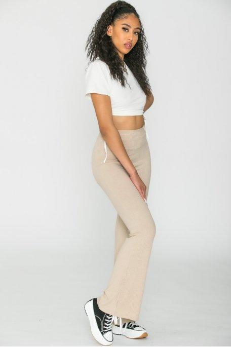 Pantalon flare côtelé beige