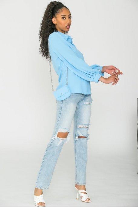 Chemise boutonnée avec mini sac bleu