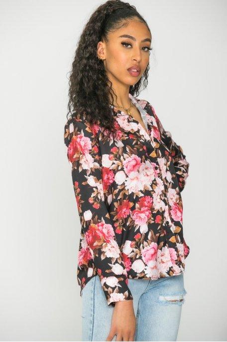 Chemise fleurie satinée noir