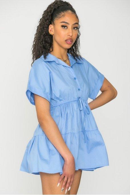 Robe chemise courte à volants bleu