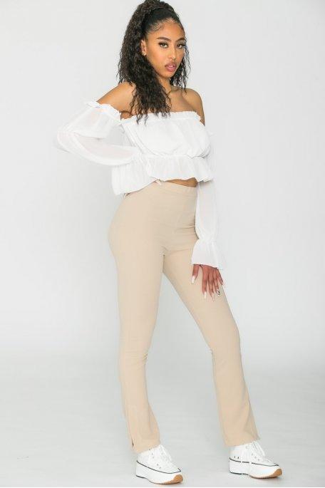 Pantalon flare fendu taille haute beige