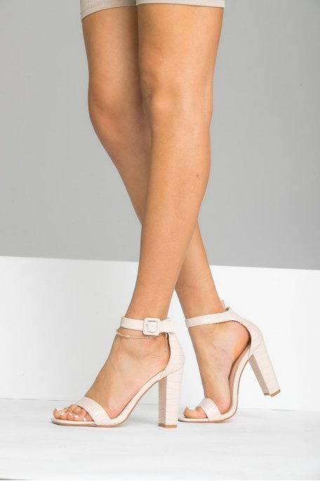 Sandales à talon effet croco beige
