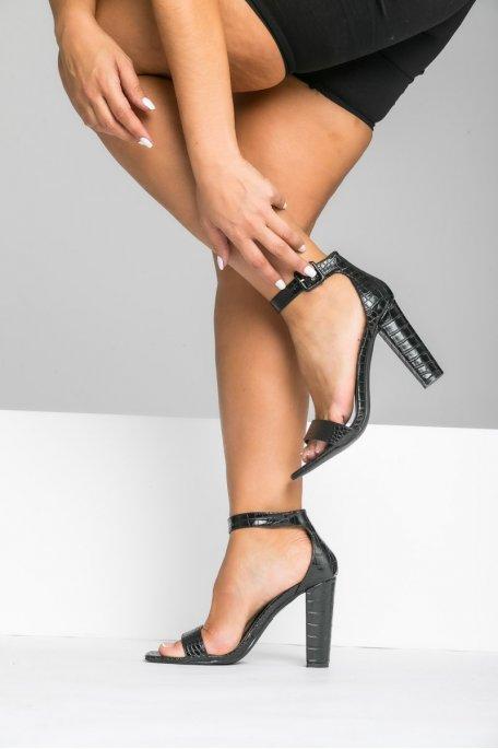 Sandales à talon effet croco noir