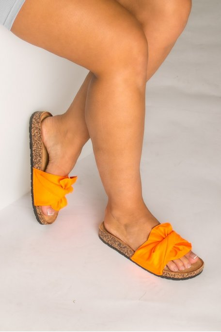 Claquettes noeud en suédine orange