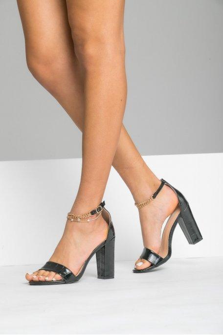Sandales à talons croco chaine noir