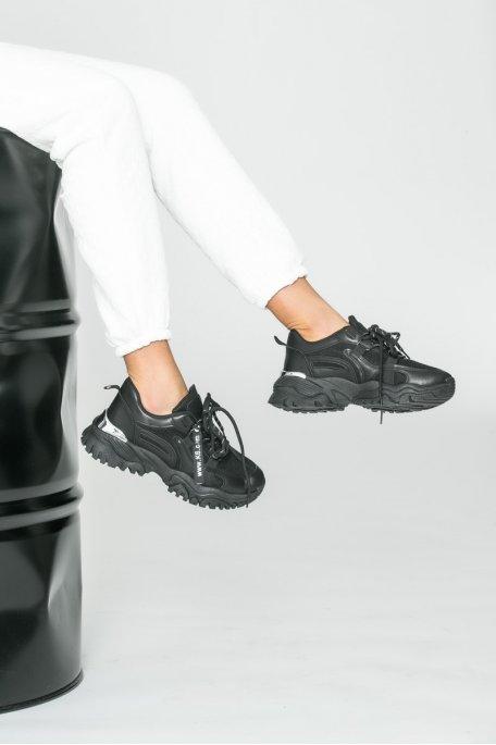 Baskets détail silver noir