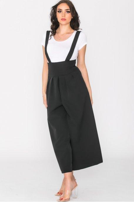 Jupe culotte à bretelles noir