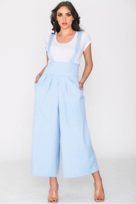 Jupe culotte à bretelles bleu