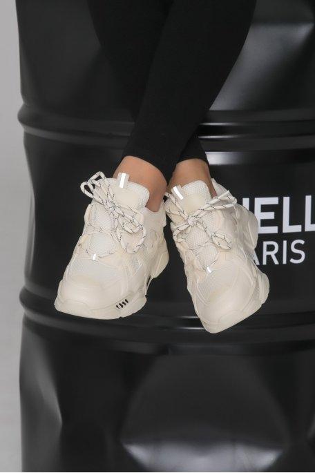 Sneakers bi-matière beige