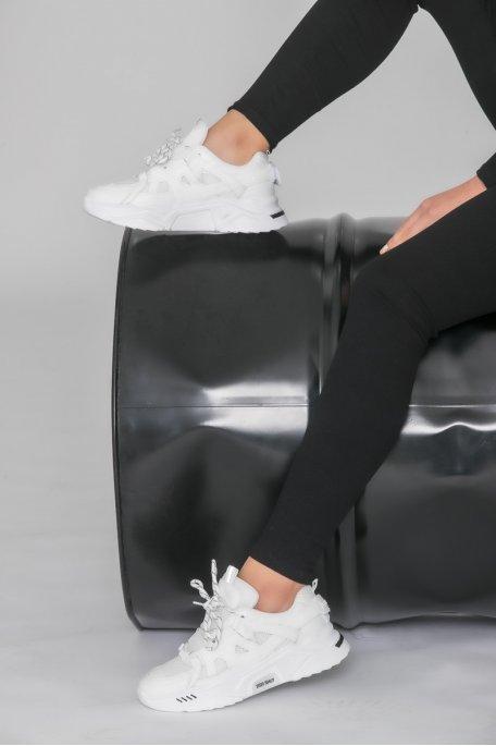 Sneakers bi-matière blanc
